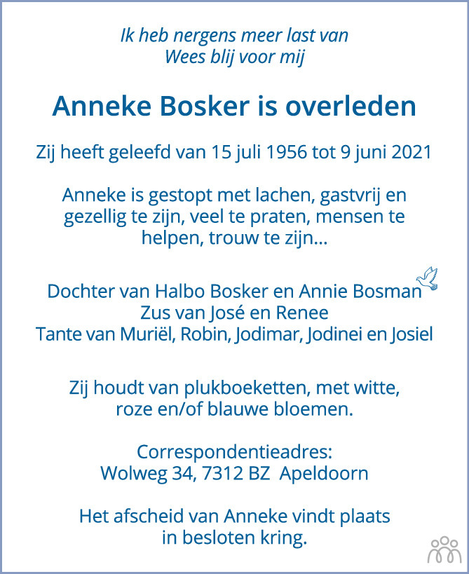 Overlijdensbericht van Anneke Bosker in de Stentor