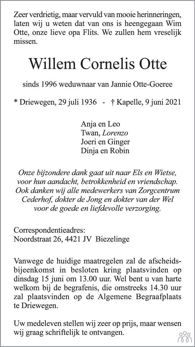 Overlijdensbericht van Willem Cornelis Otte in PZC Provinciale Zeeuwse Courant