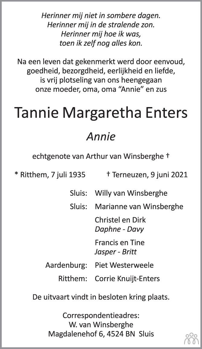 Overlijdensbericht van Tannie Margaretha (Annie) Enters in PZC Provinciale Zeeuwse Courant