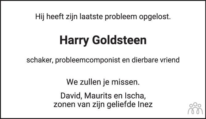 Overlijdensbericht van Hartog Simon Goldsteen in Het Parool