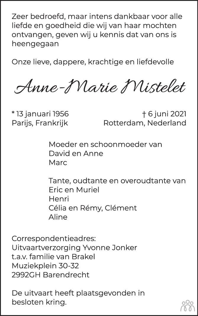 Overlijdensbericht van Anne-Marie Mistelet in Het Kompas woensdag