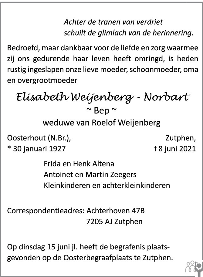 Overlijdensbericht van Elisabeth (Bep) Weijenberg-Norbart in de Stentor