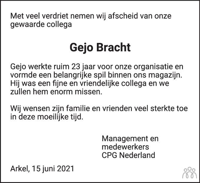 Overlijdensbericht van Gejo Bracht in AD Algemeen Dagblad