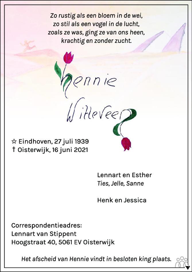 Overlijdensbericht van Hennie Witteveen in Brabants Dagblad