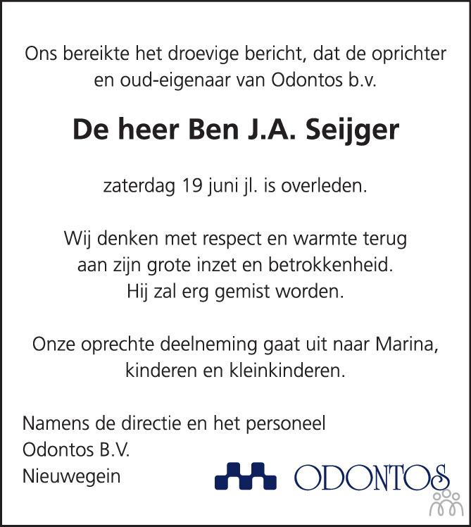 Overlijdensbericht van Bernardus Johannes Albertus (Ben) Seijger in AD Algemeen Dagblad