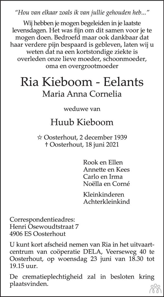Overlijdensbericht van Ria (Maria Anna Cornelia) Kieboom-Eelants in BN DeStem