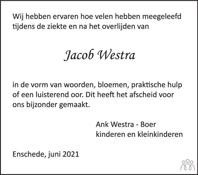 Overlijdensbericht van Jacob Westra in Tubantia