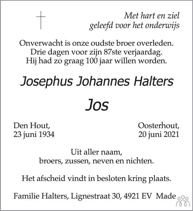 Overlijdensbericht van Josephus Johannes (Jos) Halters in BN DeStem