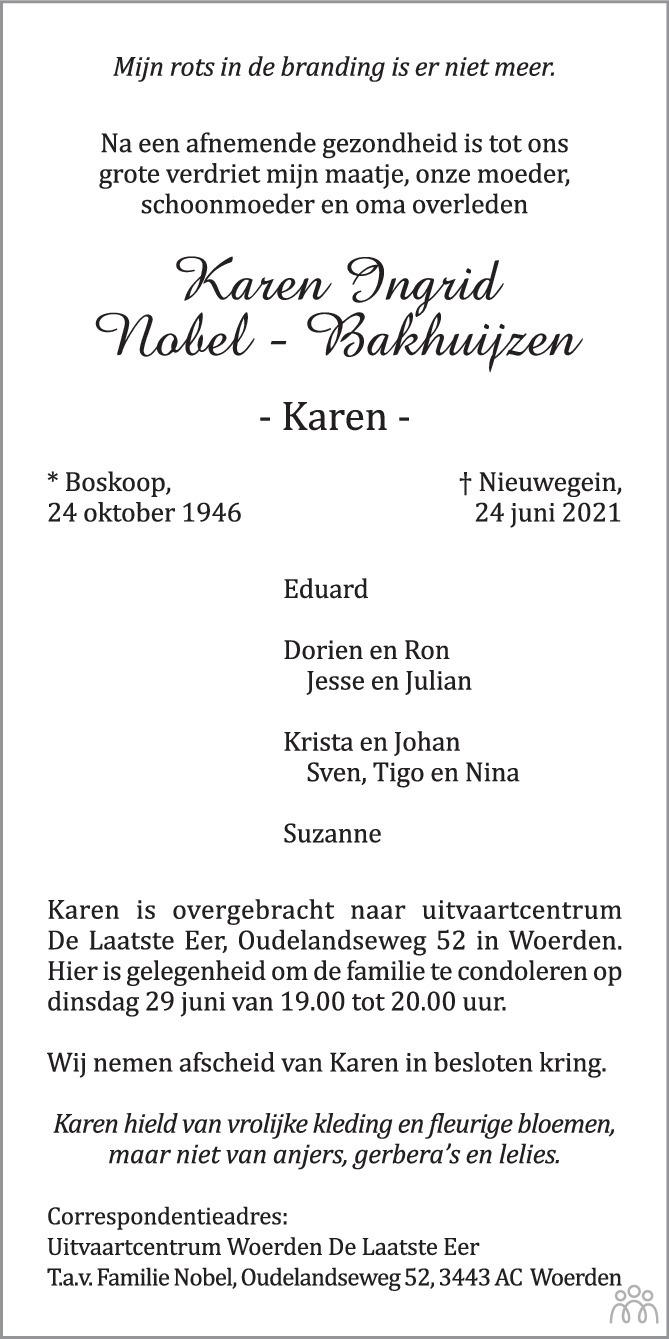 Overlijdensbericht van Karen Ingrid (Karen) Nobel-Bakhuijzen in AD Algemeen Dagblad