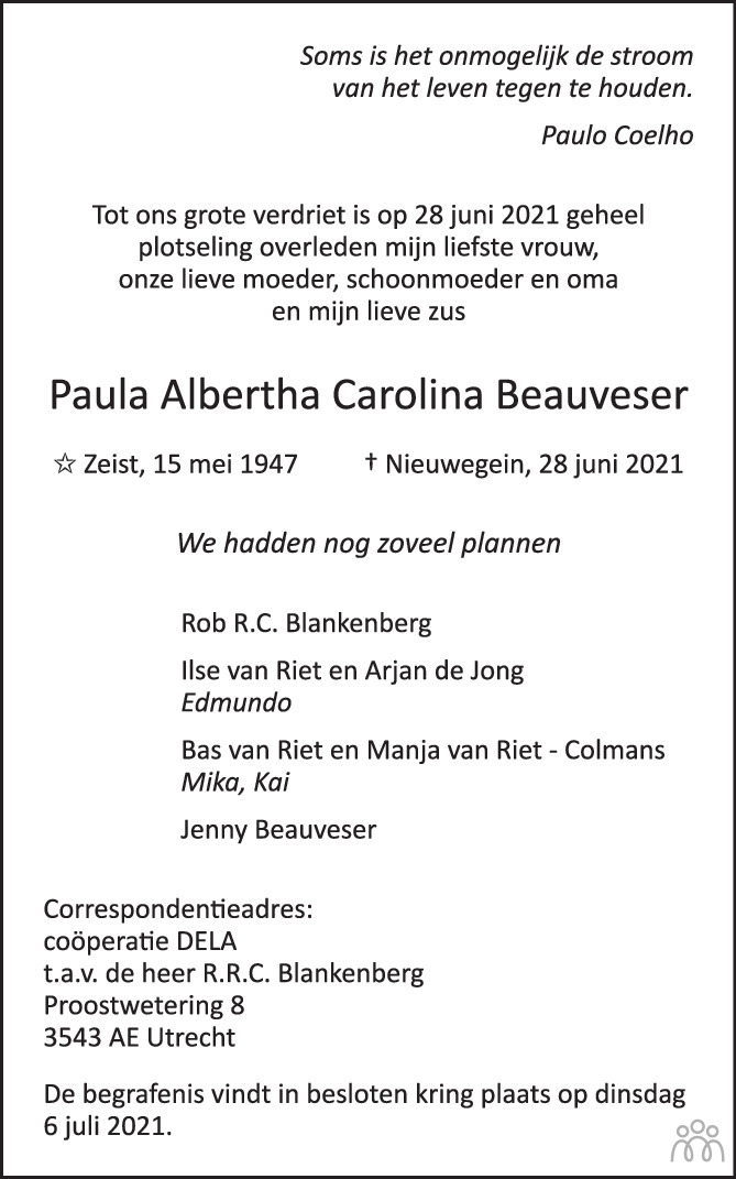 Overlijdensbericht van Paula Albertha Carolina Beauveser in AD Algemeen Dagblad