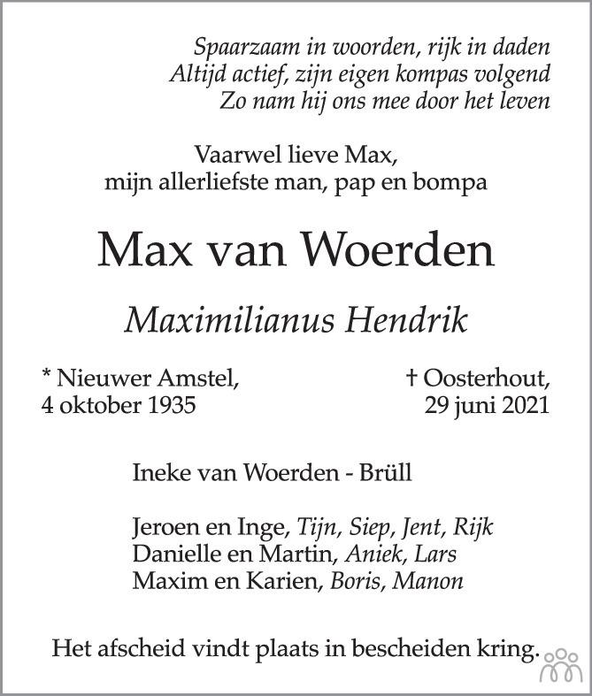 Overlijdensbericht van Max (Maximiltanus Hendrik) van Woerden in BN DeStem