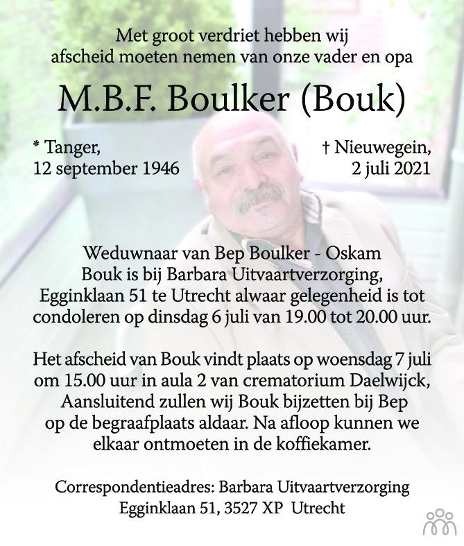 Overlijdensbericht van M.B.F. Boulker in AD Algemeen Dagblad