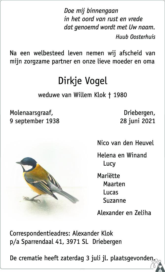 Overlijdensbericht van Dirkje Klok-Vogel in Trouw