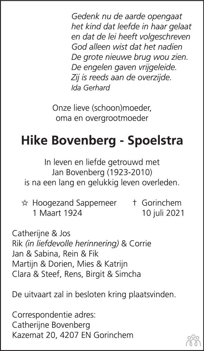 Overlijdensbericht van Hike Bovenberg-Spoelstra in Trouw
