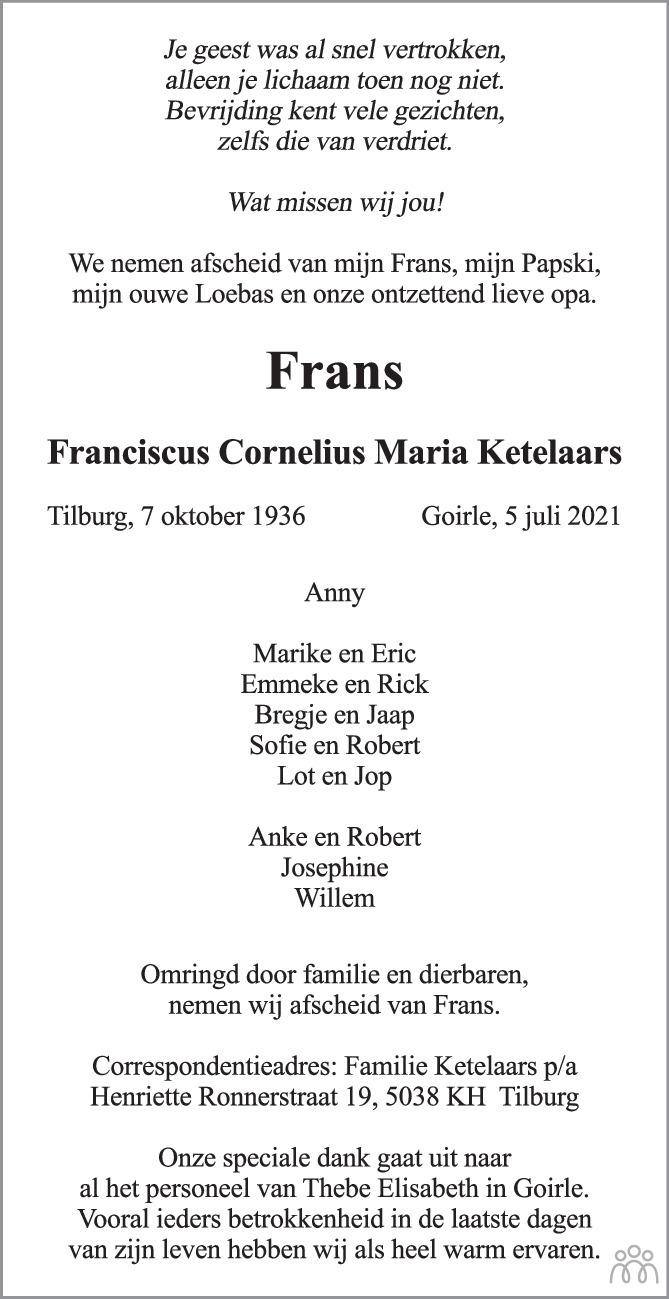 Overlijdensbericht van  Frans (Franciscus Cornelius Maria) Ketelaars in Brabants Dagblad