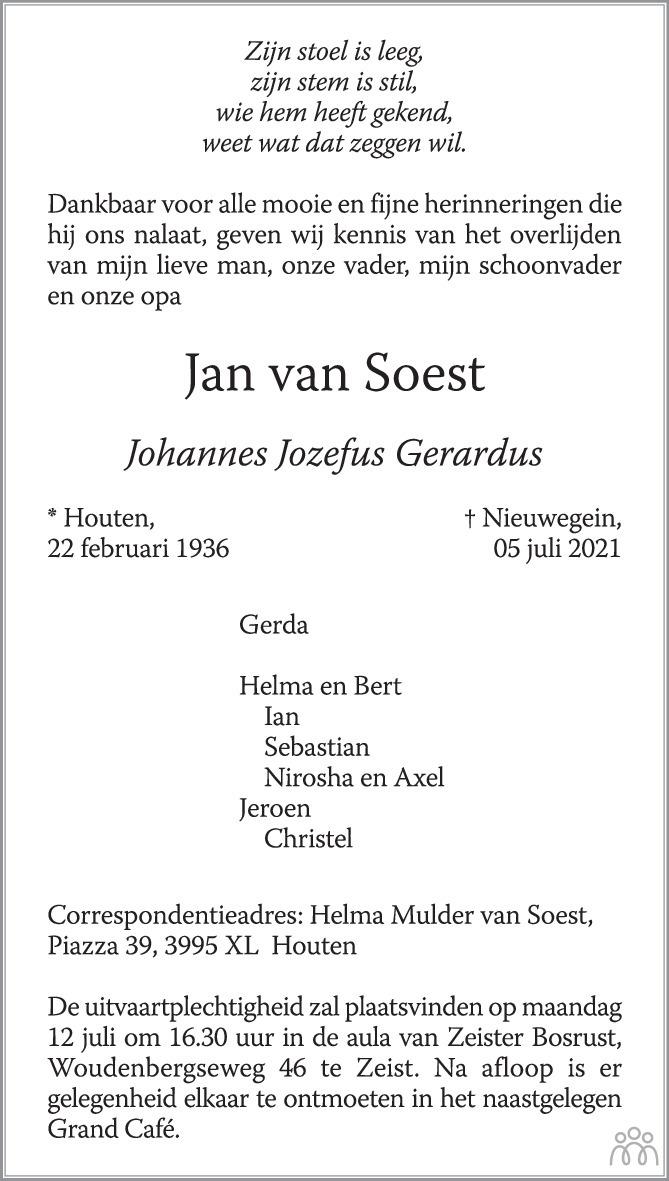 Overlijdensbericht van Jan (Johannes Jozefus Gerardus) van Soest in AD Algemeen Dagblad
