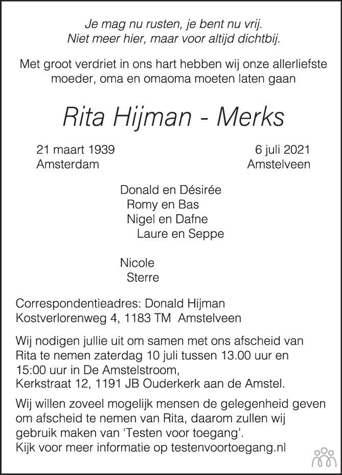 Overlijdensbericht van Rita Hijman-Merks in Het Parool
