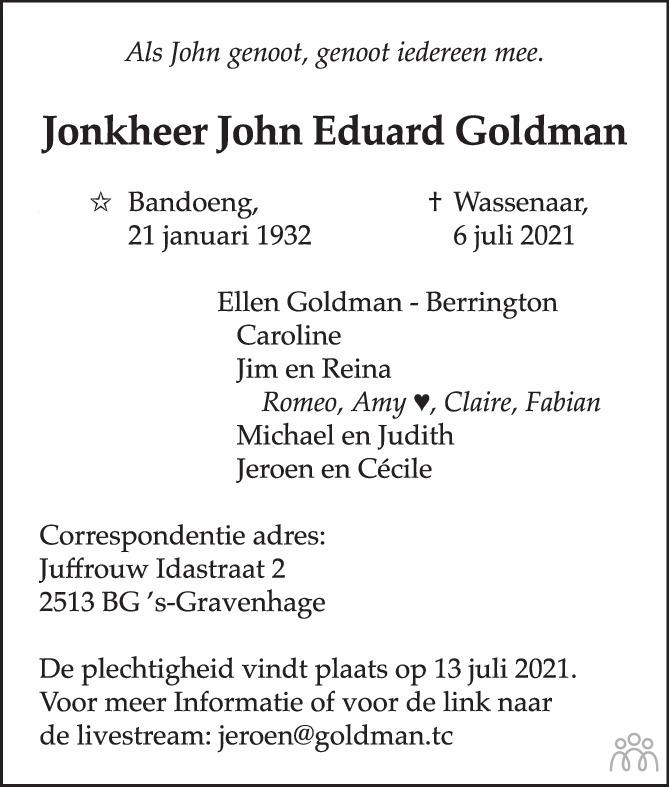 Overlijdensbericht van Jonkheer John Eduard Goldman in AD Algemeen Dagblad