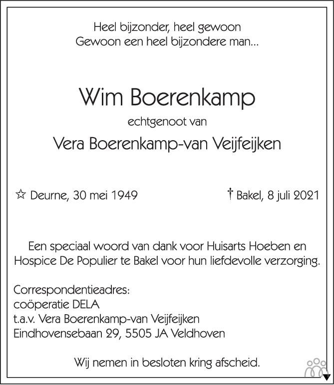 Overlijdensbericht van Wim Boerenkamp in Eindhovens Dagblad