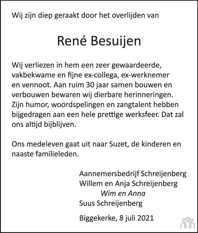 Overlijdensbericht van René Besuijen in PZC Provinciale Zeeuwse Courant