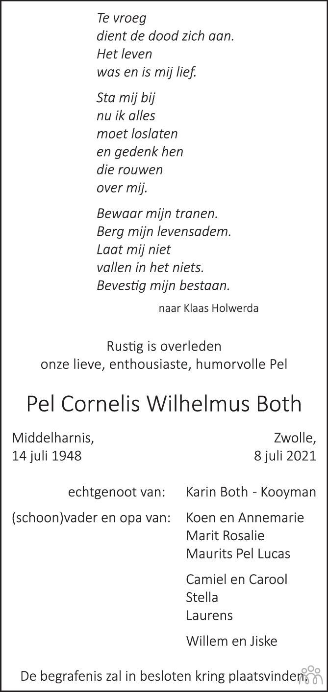 Overlijdensbericht van Pel Cornelis Wilhelmus Both in de Stentor