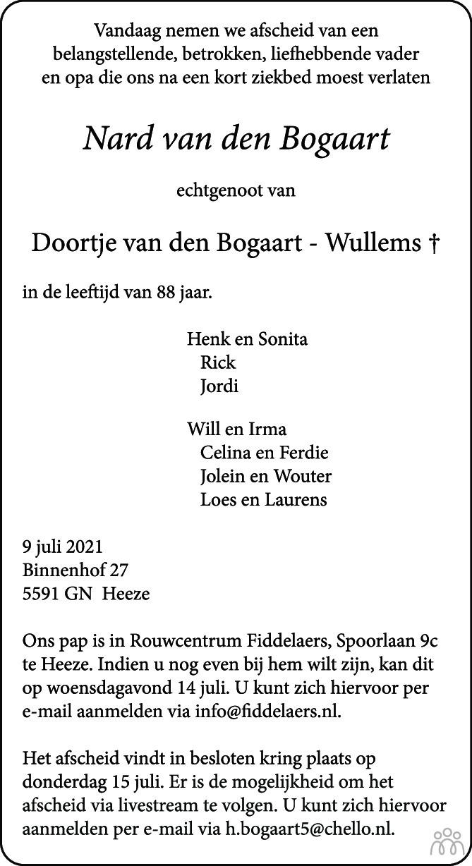 Overlijdensbericht van Nard van den Bogaart in Eindhovens Dagblad