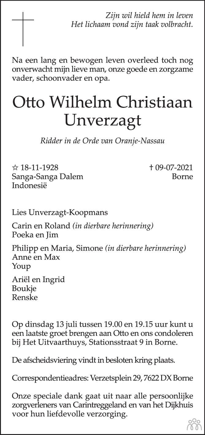 Overlijdensbericht van Otto Wilhelm Christiaan Unverzagt in Tubantia