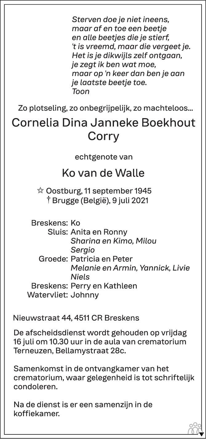Overlijdensbericht van Cornelia Dina Janneke (Corry) Boekhout in PZC Provinciale Zeeuwse Courant