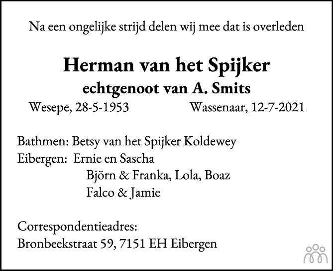 Overlijdensbericht van Herman van het Spijker in de Stentor