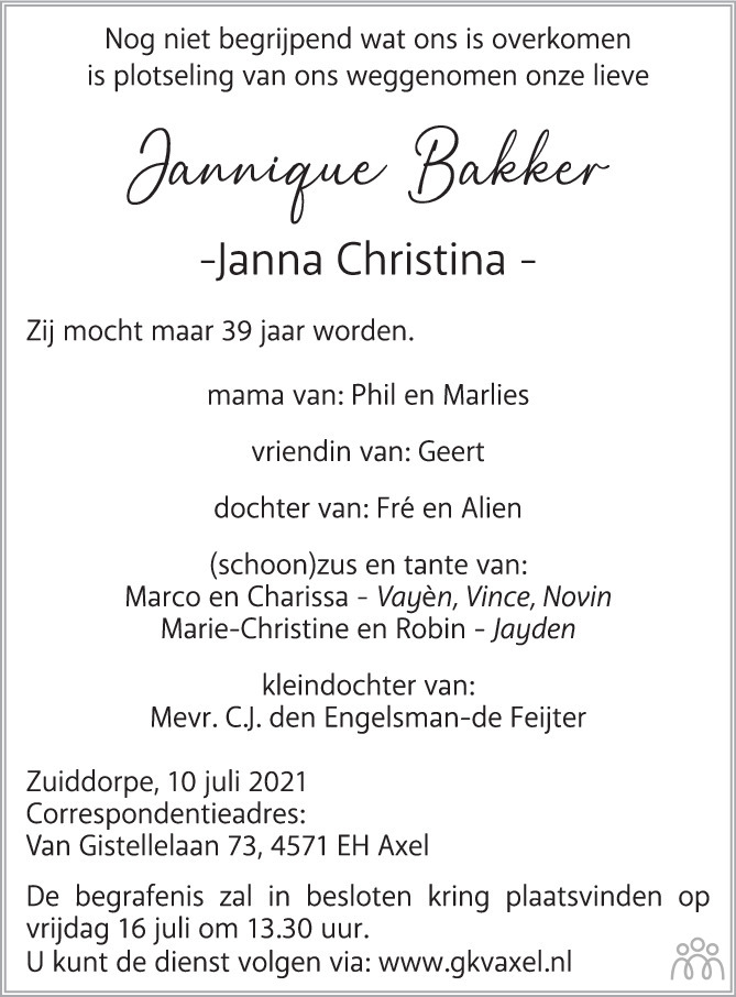 Overlijdensbericht van Jannique (Janna Christina) Bakker in PZC Provinciale Zeeuwse Courant