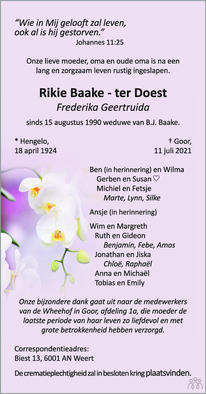 Overlijdensbericht van Rikie (Frederika Geertruida) Baake-ter Doest in Tubantia