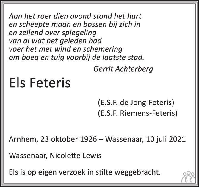 Overlijdensbericht van Els Feteris in de Volkskrant