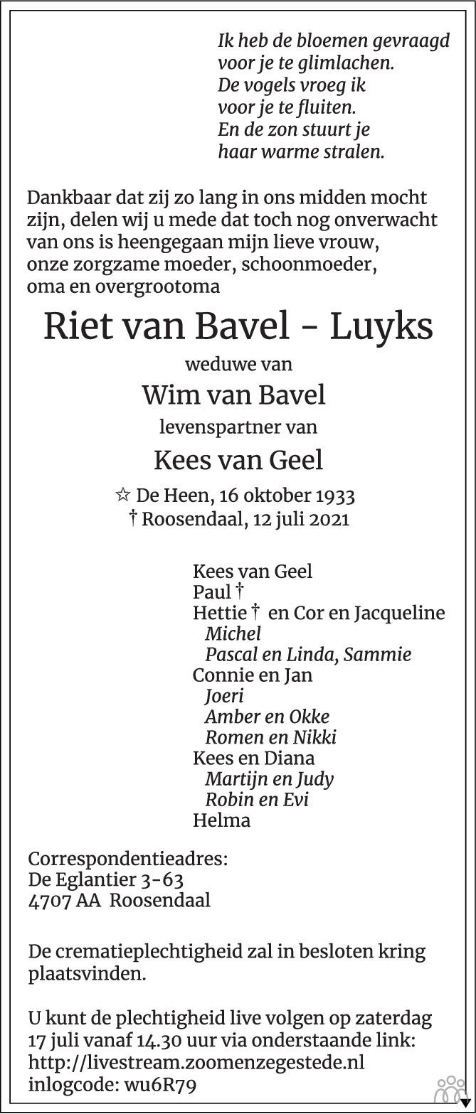 Overlijdensbericht van Riet van Bavel-Luyks in BN DeStem