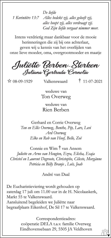 Overlijdensbericht van Juliëtte (Juliana Gertruda Cornelia) Berben-Sterken in Eindhovens Dagblad