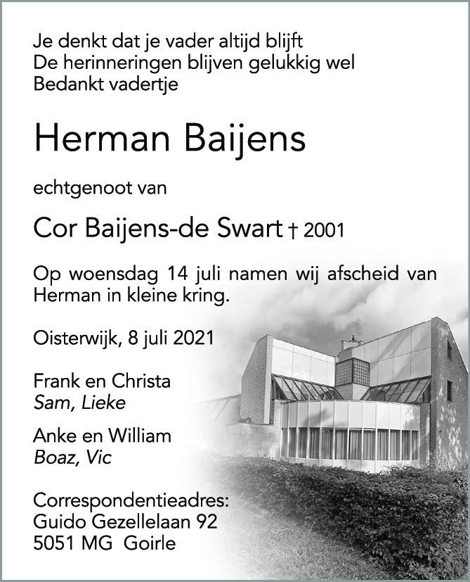 Overlijdensbericht van Herman Baijens in Brabants Dagblad