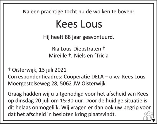 Overlijdensbericht van Kees Lous in Brabants Dagblad