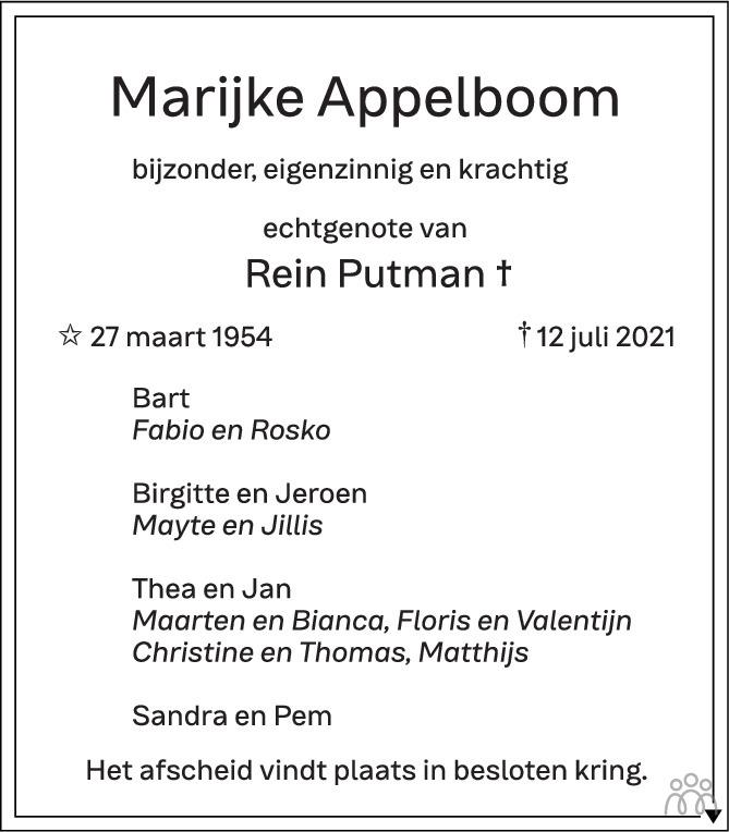 Overlijdensbericht van Marijke Appelboom in Eindhovens Dagblad