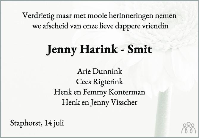 Overlijdensbericht van Jenny Harink-Smit in de Stentor