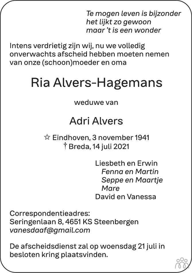 Overlijdensbericht van Ria Alvers-Hagemans in BN DeStem