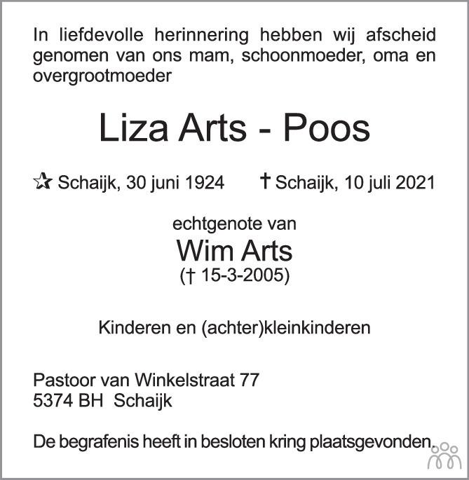 Overlijdensbericht van Liza Arts-Poos in Brabants Dagblad