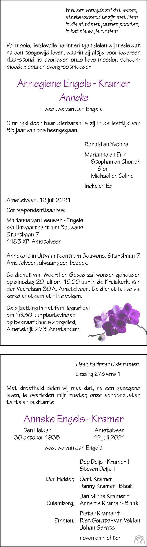 Overlijdensbericht van Annegiene (Anneke) Engels-Kramer in Trouw
