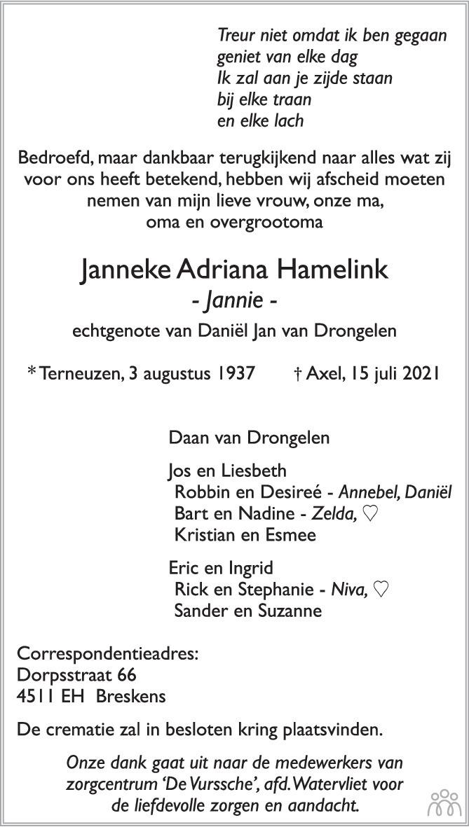 Overlijdensbericht van Janneke Adriana (Jannie) van Drongelen-Hamelink in PZC Provinciale Zeeuwse Courant