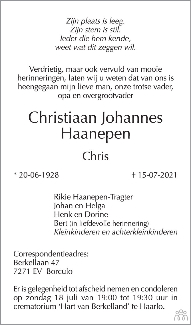 Overlijdensbericht van Christiaan Johannes (Chris) Haanepen in de Stentor