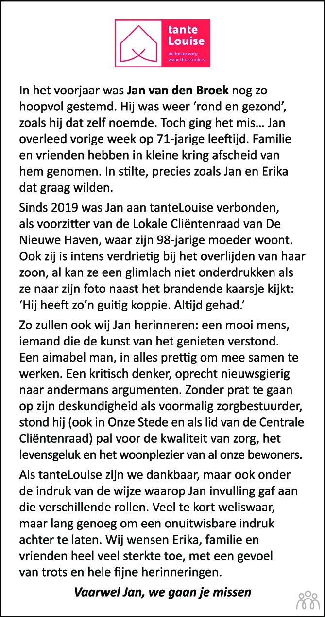 Overlijdensbericht van Jan van den Broek in BN DeStem
