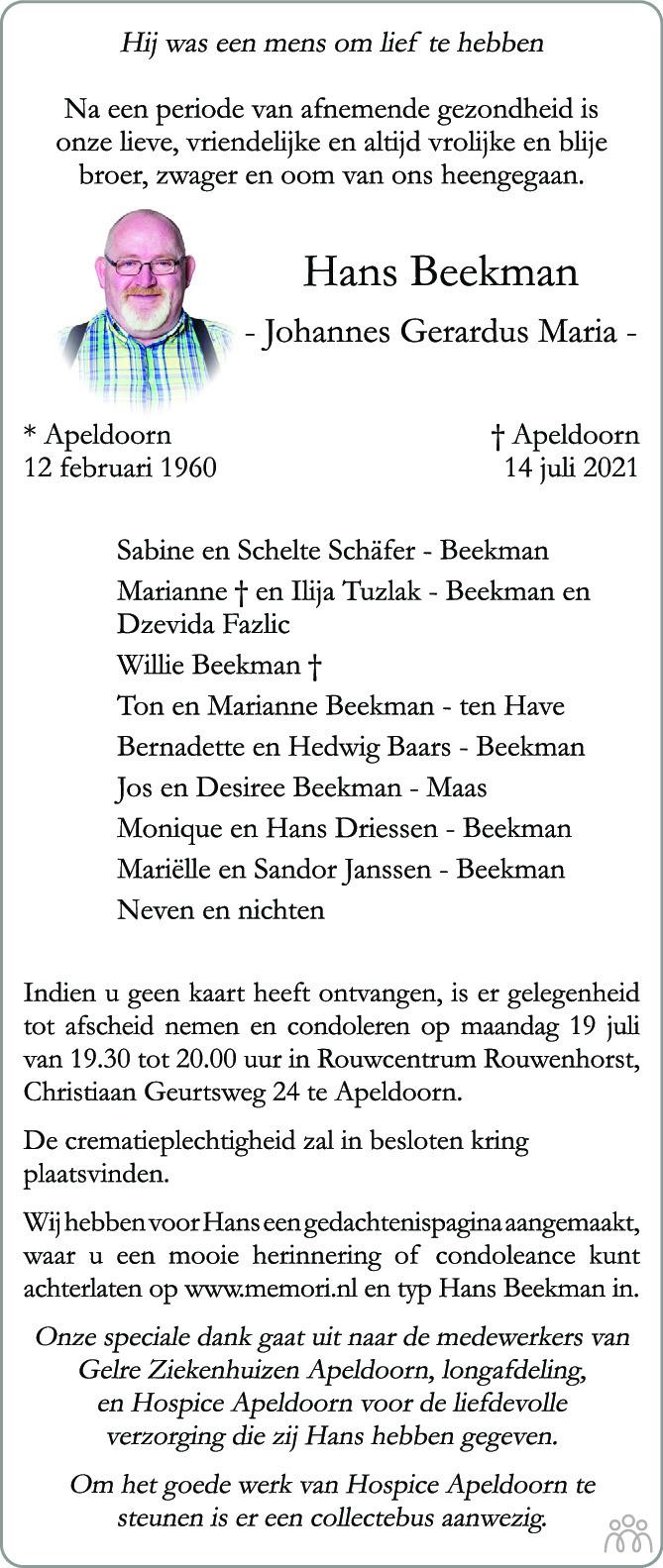 Overlijdensbericht van Hans (Johannes Gerardus Maria) Beekman in de Stentor