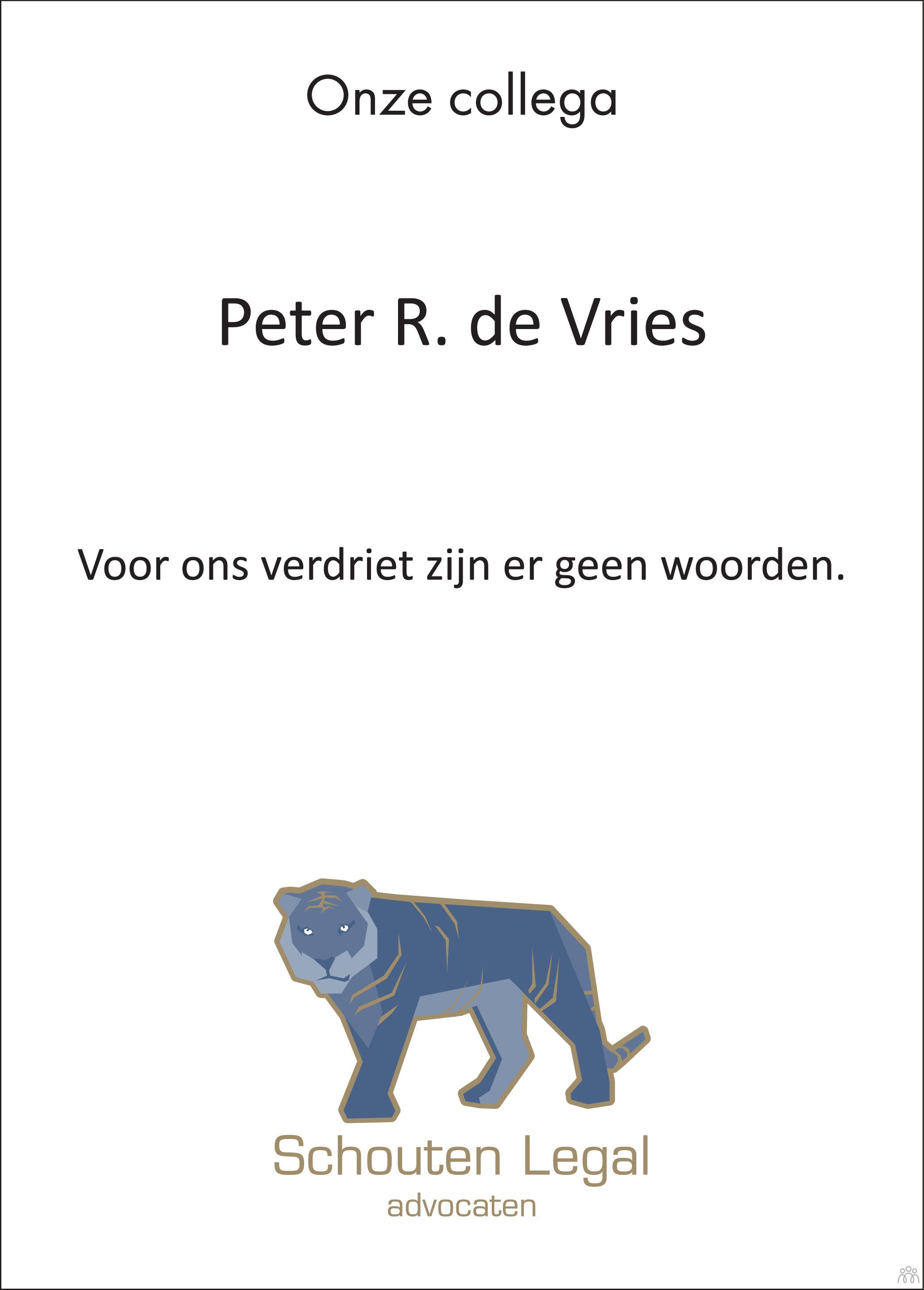 Overlijdensbericht van Peter R. de Vries in BN DeStem