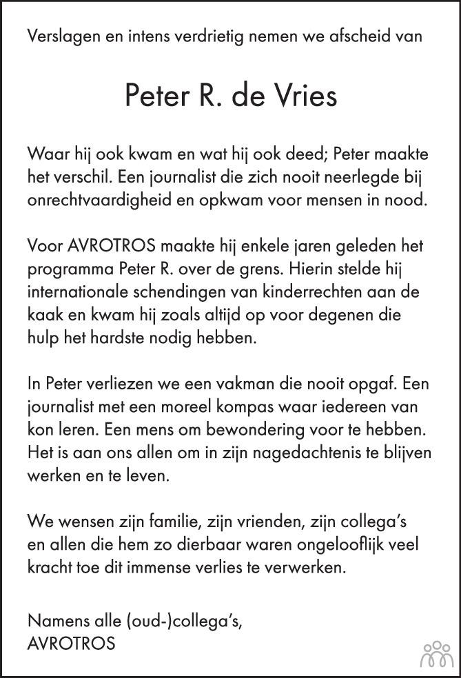 Overlijdensbericht van Peter R. de Vries in Trouw