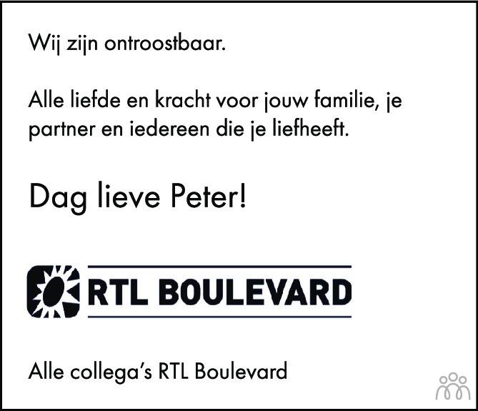 Overlijdensbericht van Peter R. de Vries in de Volkskrant