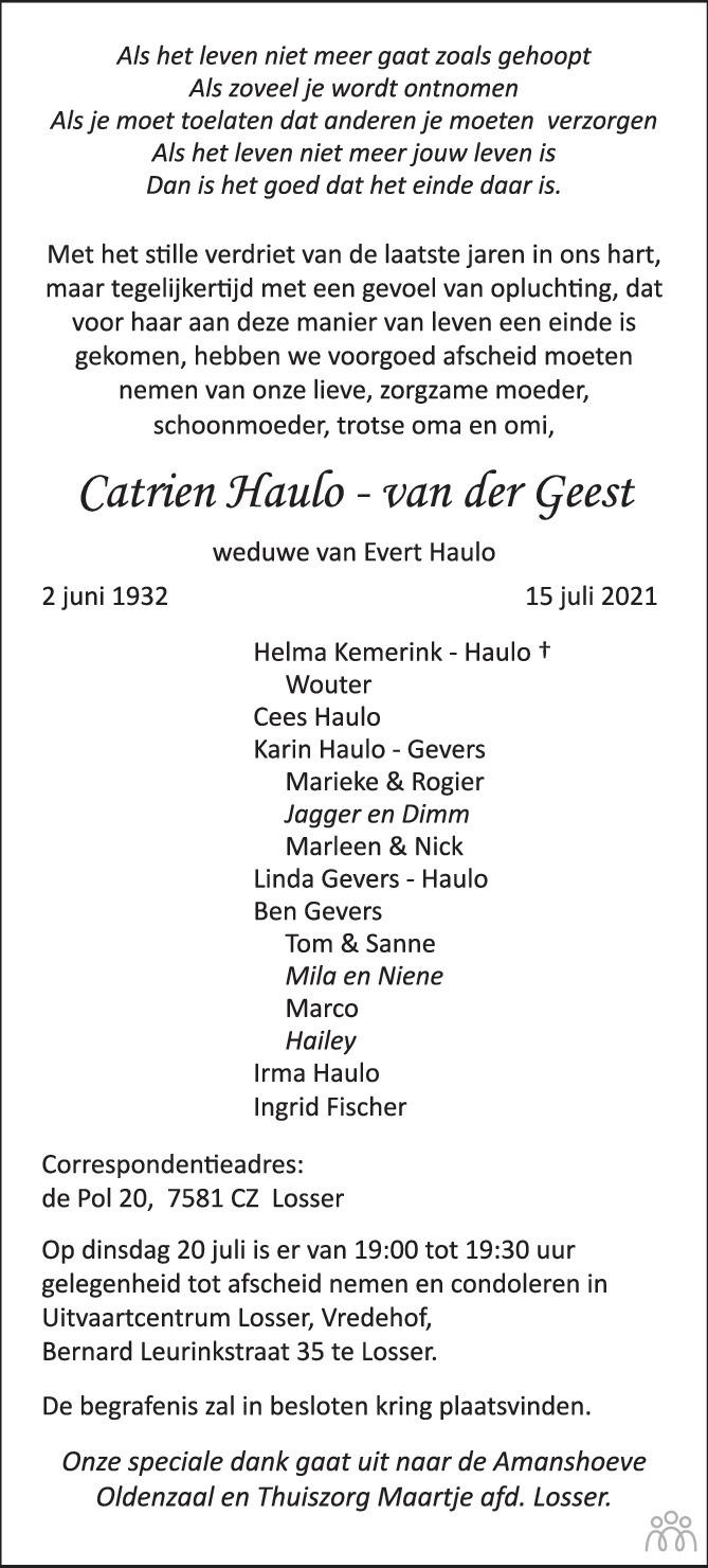 Overlijdensbericht van Catrien Haulo-van der Geest in Tubantia