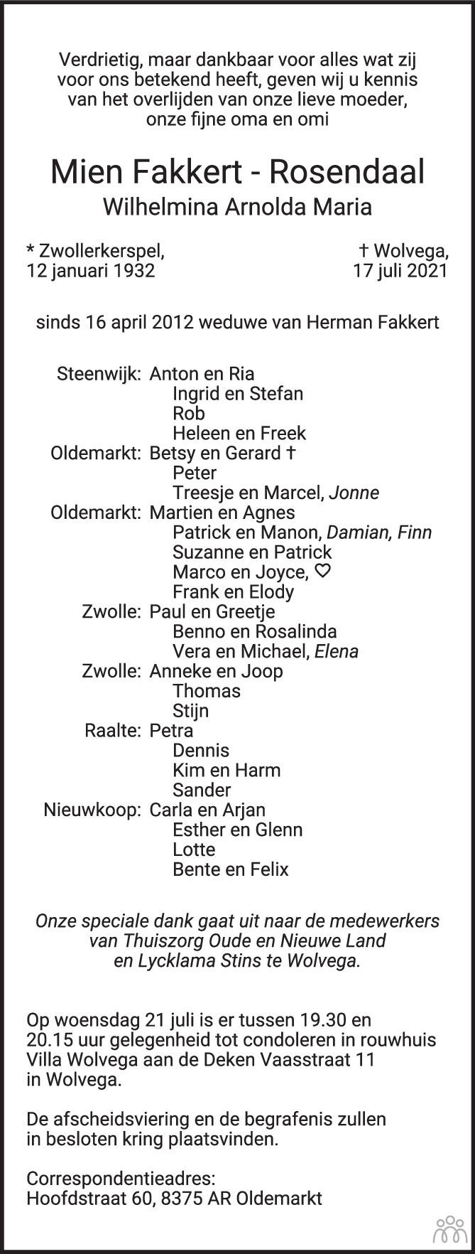 Overlijdensbericht van Mien (Wilhelmina Arnolda Maria) Fakkert-Rosendaal in de Stentor